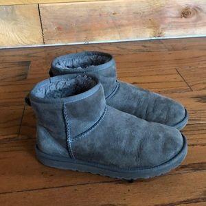 Ugg grey suede mini sheepskin boots 6